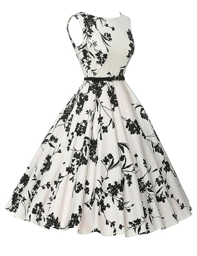 VERNASSA 1950s Vestidos para Mujer, 50s Vestido Retro con Estilo del Oscilación de la Tarde de la Vendimia del Baile de Fin de Curso del Club del Coctel del ...