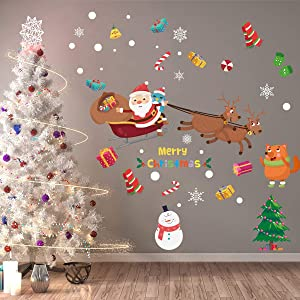 ANBER Christmas Tree Snowman Santa Claus Snowflake Sticker Peel &Stick Decals Removable Vinyl Wall Decals Window Xmas Self-Adhesive Holiday Home Decoration