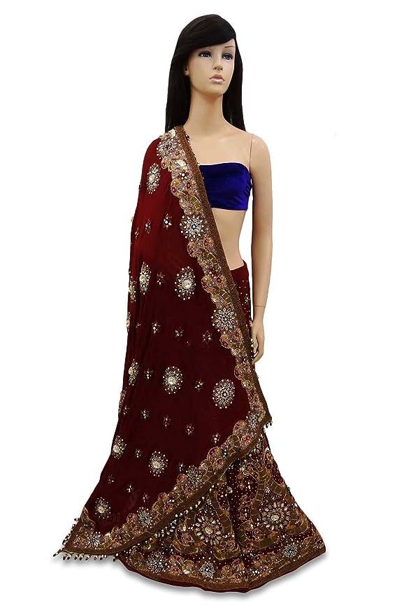 Vintage Indian Diseñador Lehenga Set con cuentas vestido de novia Tela étnica Maroon: Amazon.es: Hogar