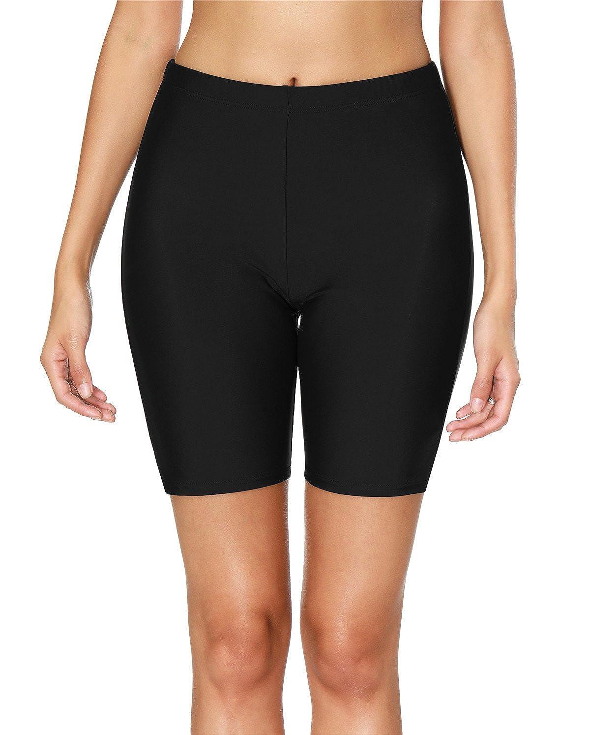 ATTRACO Women Swim Shorts Board Shorts Swimming Bottoms Long Boardshorts Black