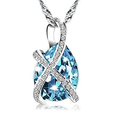 silver charm natural vs marine stering item girl genuine jewelry aqua pendant necklace aquamarine