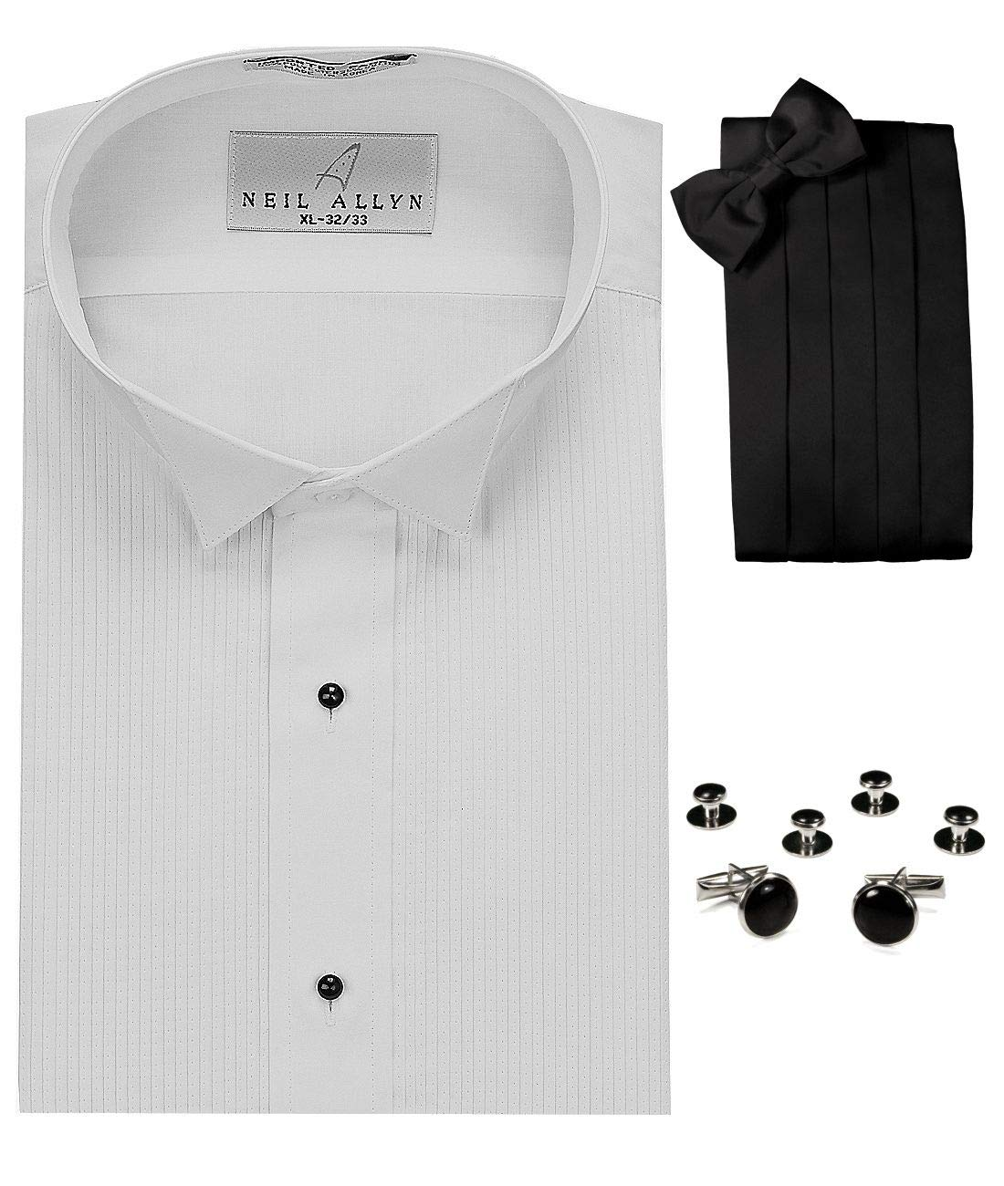 Wing Collar Tuxedo Shirt, Cummerbund, Bow-Tie, Cuff Links & Studs Set White by Neil Allyn