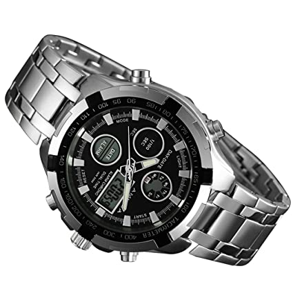 fbc38988e5d0 Hombres Moda relojes marca de lujo oro Golden Relojes Hombres Deportes  quartz-watch Dual tiempo