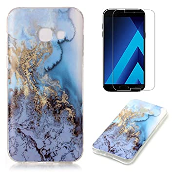 timeless design 8a156 4e29a for Samsung Galaxy A5 2017 A520 Marble Case with Screen Protector,OYIME  Creative Glossy Blue & Gold Marble Pattern Design Protective Bumper Soft ...