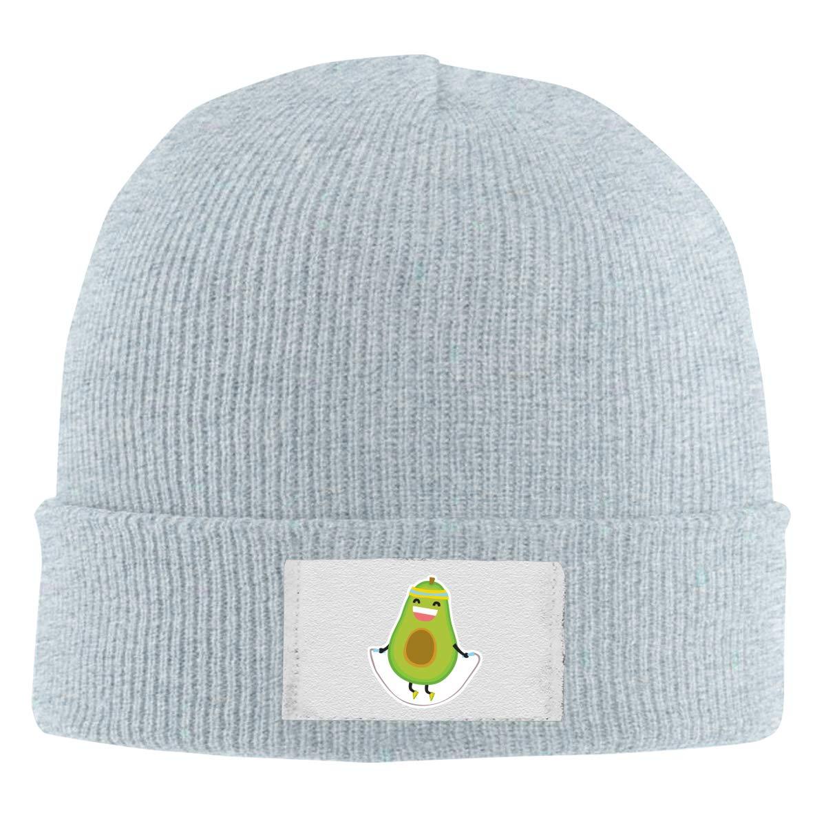 Stretchy Cuff Beanie Hat Black Dunpaiaa Skull Caps Avocado Jumping Rope Winter Warm Knit Hats