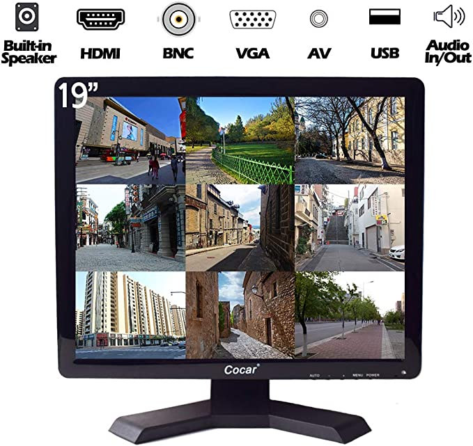 19 Pulgadas CCTV Monitor, 1280x1024 HD LCD Seguridad Monitor(LED Retroiluminación) con VGA/HDMI/AV/BNC USB Drive Player Altavoz Incorporado para Casa/Oficina/Tienda Vigilancia Cámara STB PC: Amazon.es: Electrónica
