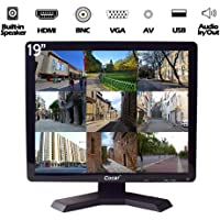 19 inch CCTV Monitor with VGA HDMI AV BNC Audio in/Out Ports 4:3 Built-in Speaker LCD Display Screen with USB Drive Player for Surveillance System Security Camera STB 1280x1024 Resolution