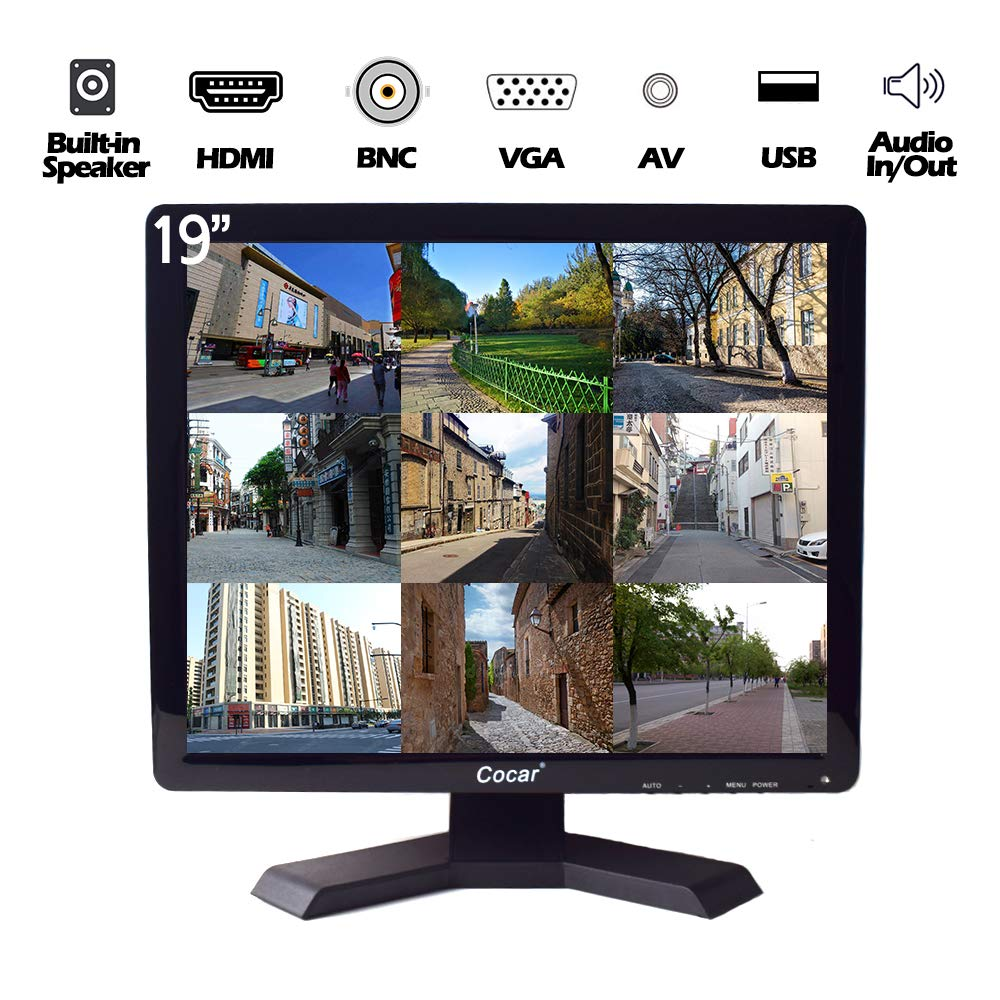 19'' CCTV Monitor with VGA HDMI AV BNC Audio in/Out Ports 4:3 Built-in Speaker (LED Backlight) LCD Display Screen with USB Drive Player for Surveillance System Security Camera STB 1280x1024 Resolution
