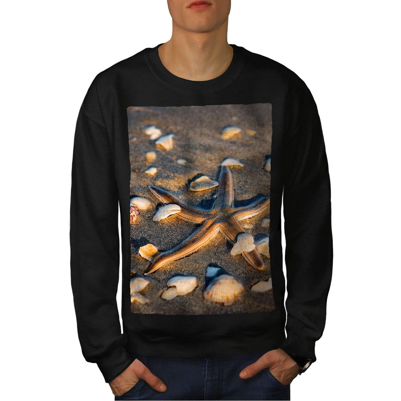 wellcoda Sea Shore Photo Nature Mens Sweatshirt Sea Casual Jumper