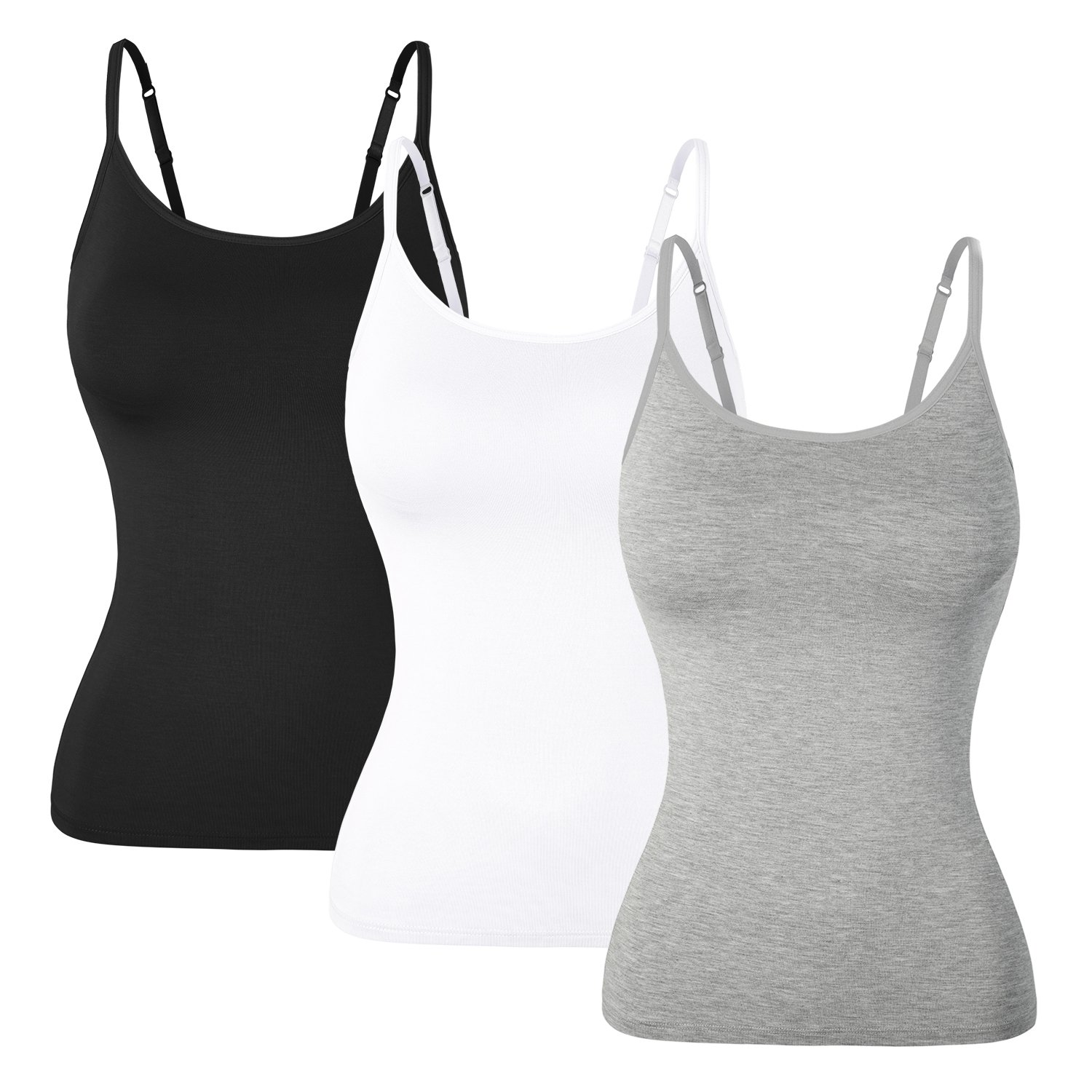 DYLH Women Stretch Tank Top Built-in Shelf Bra Cami Vest Set 3PACK by DYLH (Image #2)