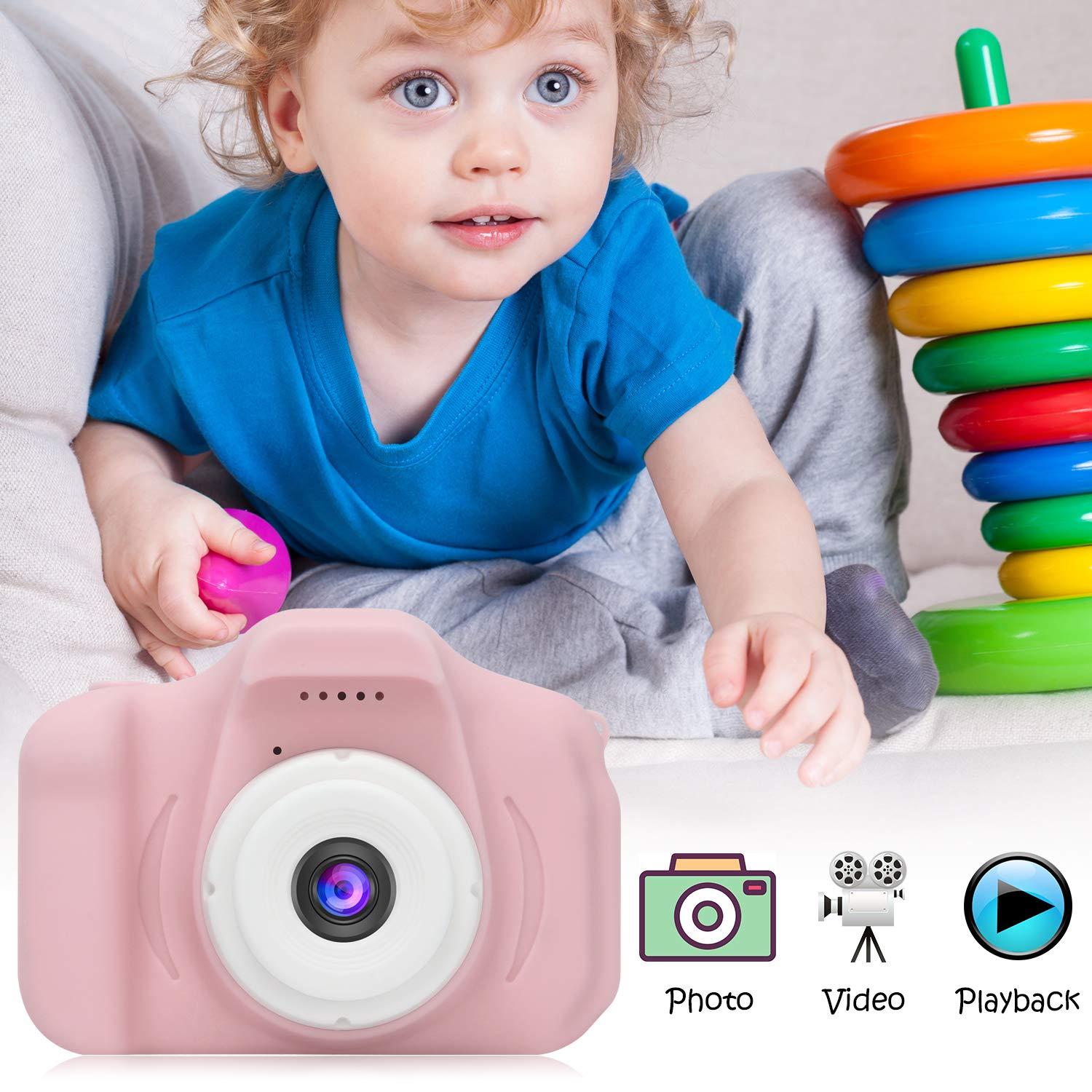 DDGG Kids Digital Camera for Girls Age 3-10,Toddler Cameras Child Camcorder Mini Cartoon Pink Rechargeable Camera Shockproof 8MP HD Children Video Record Camera (16GB Memory Card Included) by DDGG (Image #6)