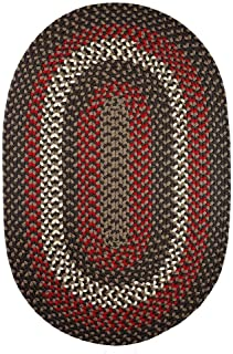 product image for Rhody Rug Mission Hill (7' x 9') Multicolored Indoor/Outdoor Reversible Oval Braided Rug Brown Velvet