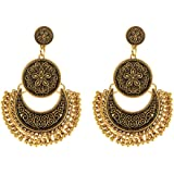 I Jewels Gold-Plated Fusion Moonshape Chandbali Dangle & Drop Earring For Women