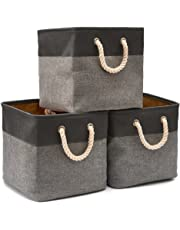 EZOWare 3-Pack Canvas Fabric Tweed Collapsible Storage Cubes Basket Cubes with Cotton Rope Handles for Babies Nursery Toys Organizer-Black (33 x 33 x 33cm)