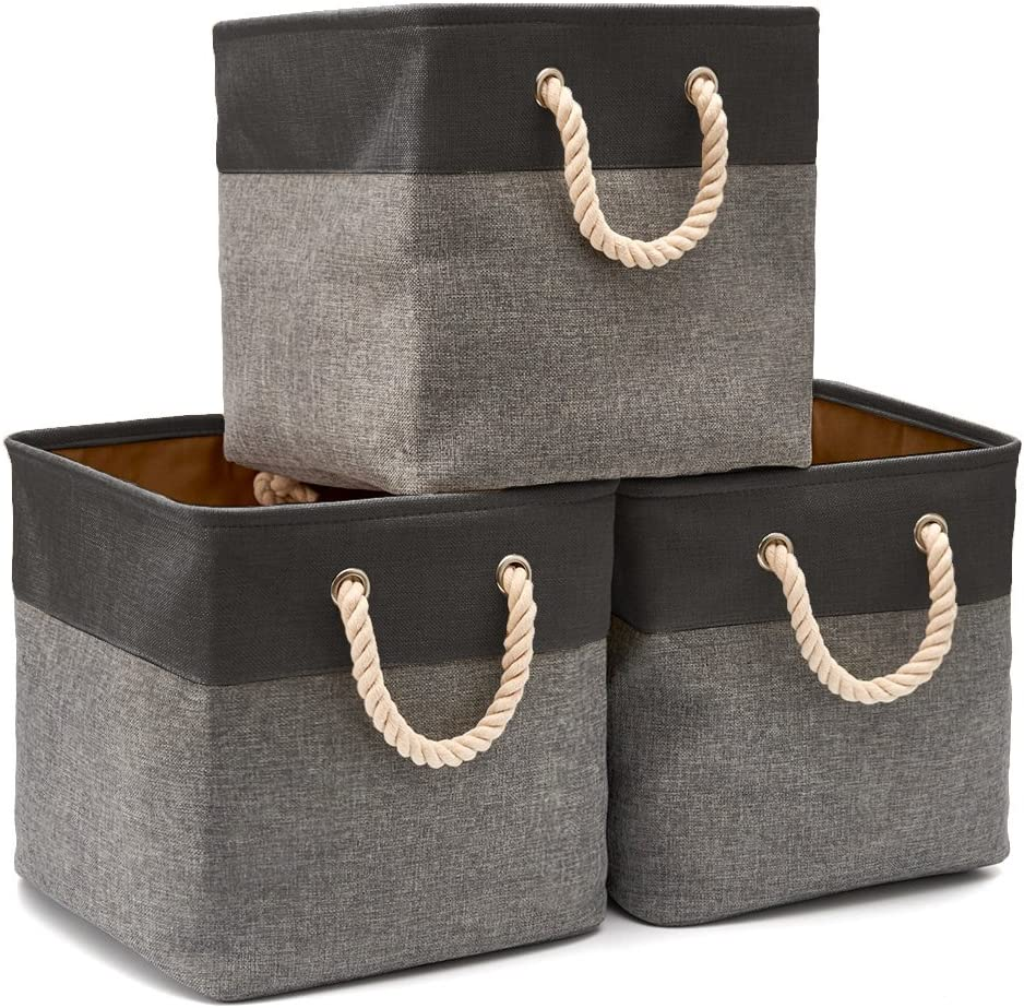 EZOWare 3-Pack Collapsible Storage Bins Basket Foldable Canvas Fabric Tweed Storage Cubes Set with Handles for Babies Nursery Toys Organizer (13 x 13 x 13 inches) (Black/Gray)
