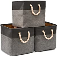 EZOWare 3-Pack Canvas Fabric Tweed Collapsible Storage Cubes Basket Cubes with Cotton Rope Handles for Babies Nursery…