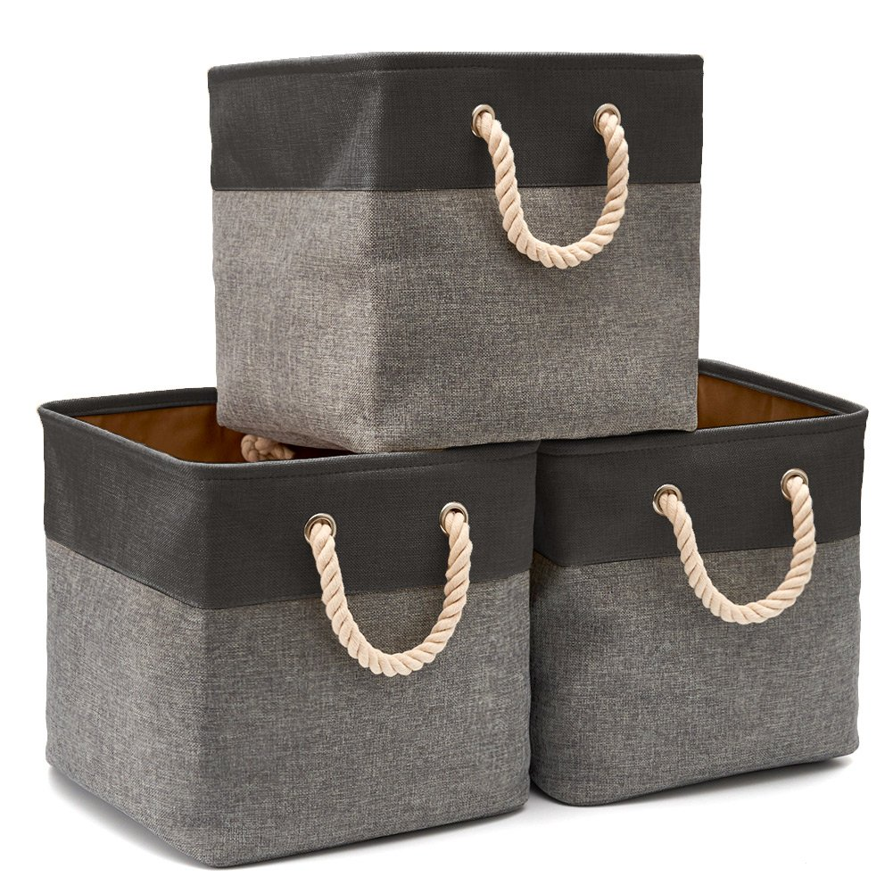 EZOWare 3-Pack Collapsible Storage Bins Basket Foldable Canvas Fabric Tweed Storage Cubes Set with Handles for Babies Nursery Toys Organizer (13 x 13 x 13 inches) (Black/Gray) by EZOWare