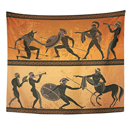 Emvency Tapestry Ancient Greece Black Figure Pottery Hunting For Minotaur  Gods Warrior Centaur Classical Greek Style