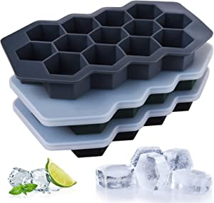 3 Pack Silicone Ice Cube Trays, ONLYWEE Ice Cube Molds with Sealed Lids, Flexible Hexagonal 39-Ice Trays, Easy-Release, Reusable, BPA Free, for Chilled Drinks, Whiskey, Cocktail, Food.
