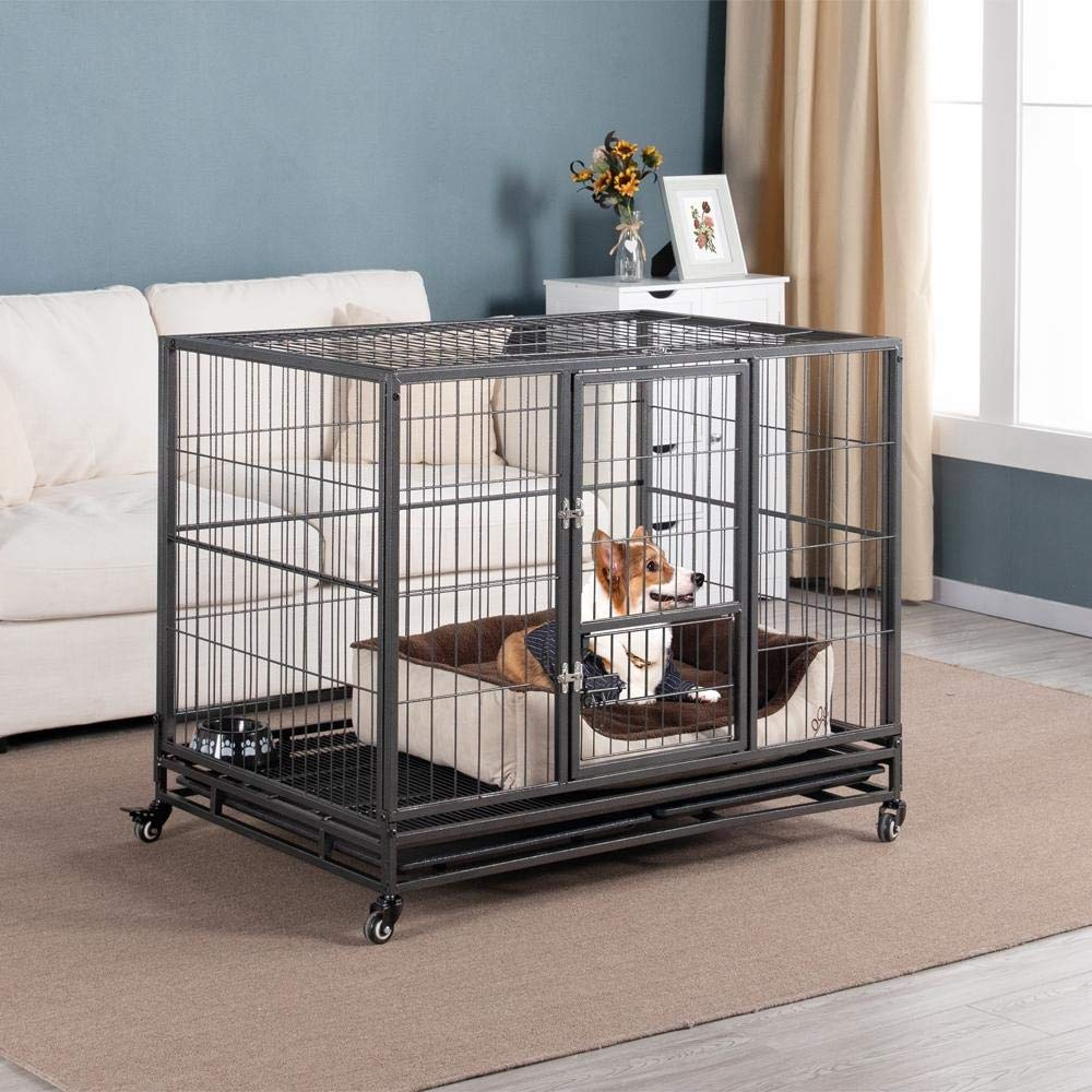 Yaheetech 43-inch Open Top Heavy Duty Strong Metal Pet Dog Cage Crate Kennel and Playpen Indoor Outdoor for Small//Medium//Large Dogs w//Double Doors /& Locks /& Double Tray /& Lockable Wheels,Black