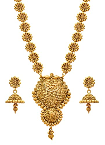 36d02a71b Buy JFL - Jewellery for Less Golden One Gram Gold Plated Necklace Set For  Women Online at Low Prices in India