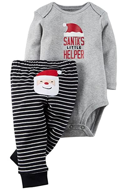 e25123f0206 2Pcs Outfits Baby Boys Girls Christmas Deer Print Long Sleeve Romper  Tops+Striped Pants Set