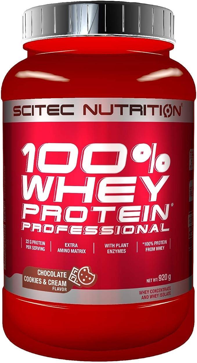 Scitec Nutrition 100% Whey Protein Professional con aminoácidos clave y enzimas digestivas adicionales, 920 g, Chocolate-Cookies & Cream