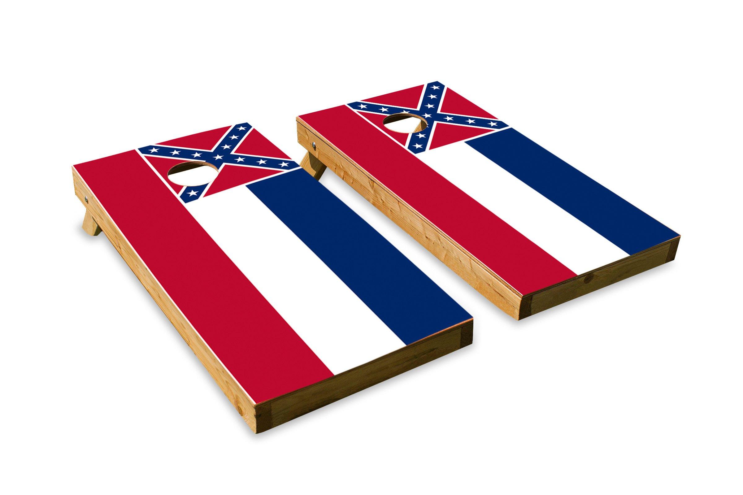 Mississippi State Flag - Cornhole Crew - ACA Regulation Size Cornhole Board Set by The Cornhole Crew