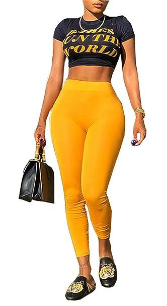 Amazon.com: 2 piezas para mujer traje moda midriff-baring ...