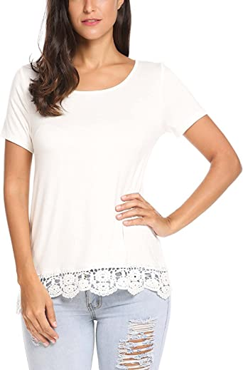 Womens Short Sleeve Lace T-Shirt Ladies Loose Tops Blouse Plus Size Tee Tops