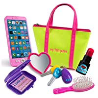 Kiddofun My First Purse - Kids Pretend Toy Hand Bag Includes Play Phone Keys Mirror...