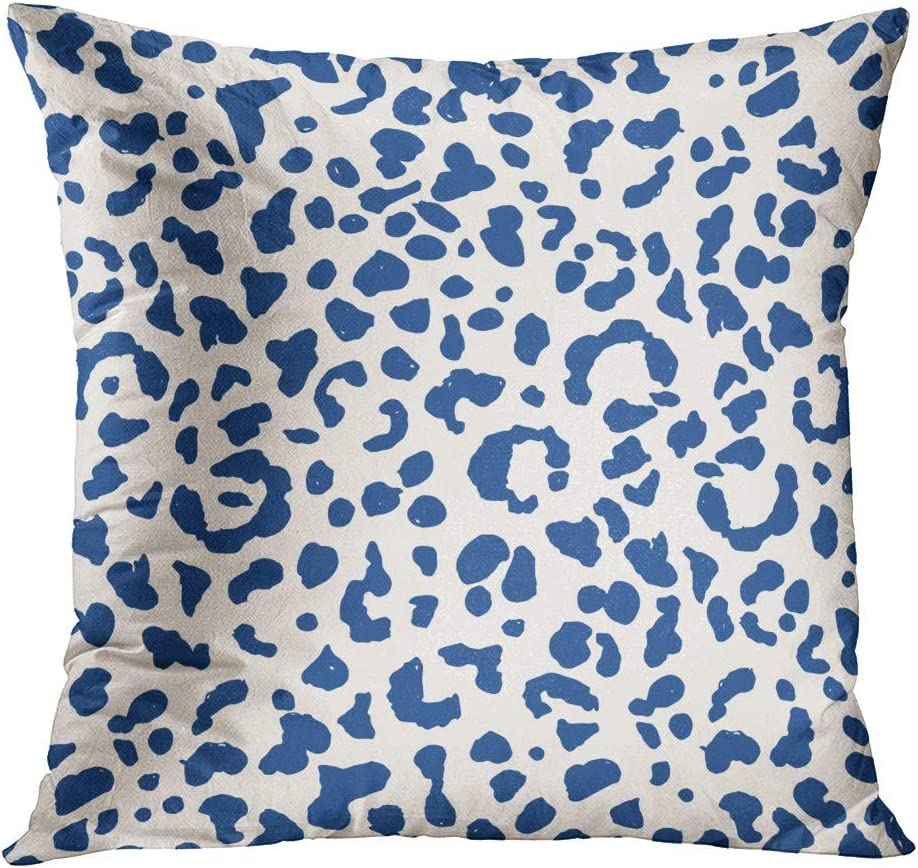Houlor Leopard Throw Pillow Cover 20 X 20 Inches Watercolor Blue Leopards Geometric Print Pillowcase Living Room Bedroom Dorm Car Hidden Zipper Home Decor Home Style Cushion Case Home Kitchen
