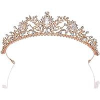 SWEETV Tiara de boda de oro rosa para mujer – Tiara de princesa con diamantes de imitación, diadema de novia