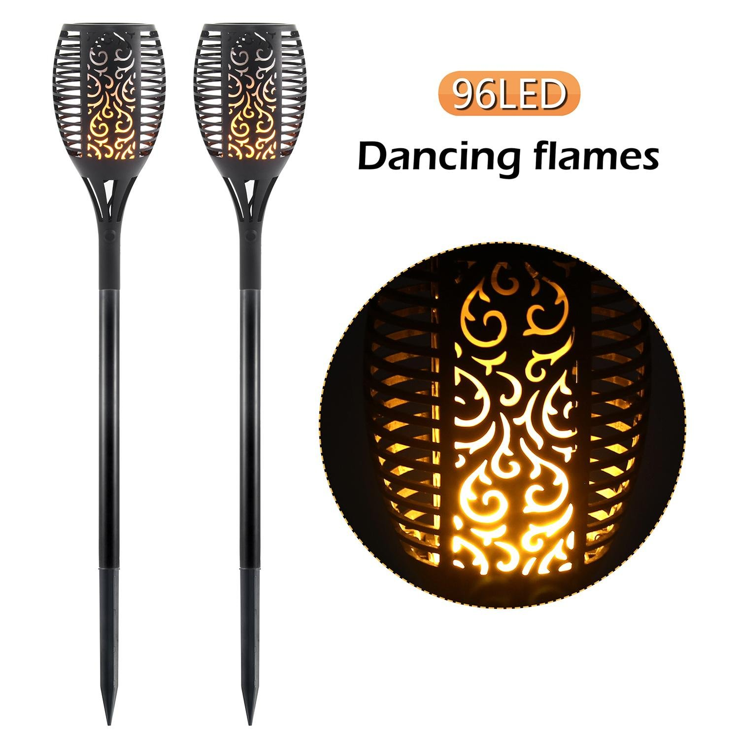 Aolvo Solar Torches Light, Path Dancing Flame Lighting 96 LED to Dawn Automatic On/Off, Flickering Garden Patio Waterproof Outdoor Landscape Lights (2 Pack)