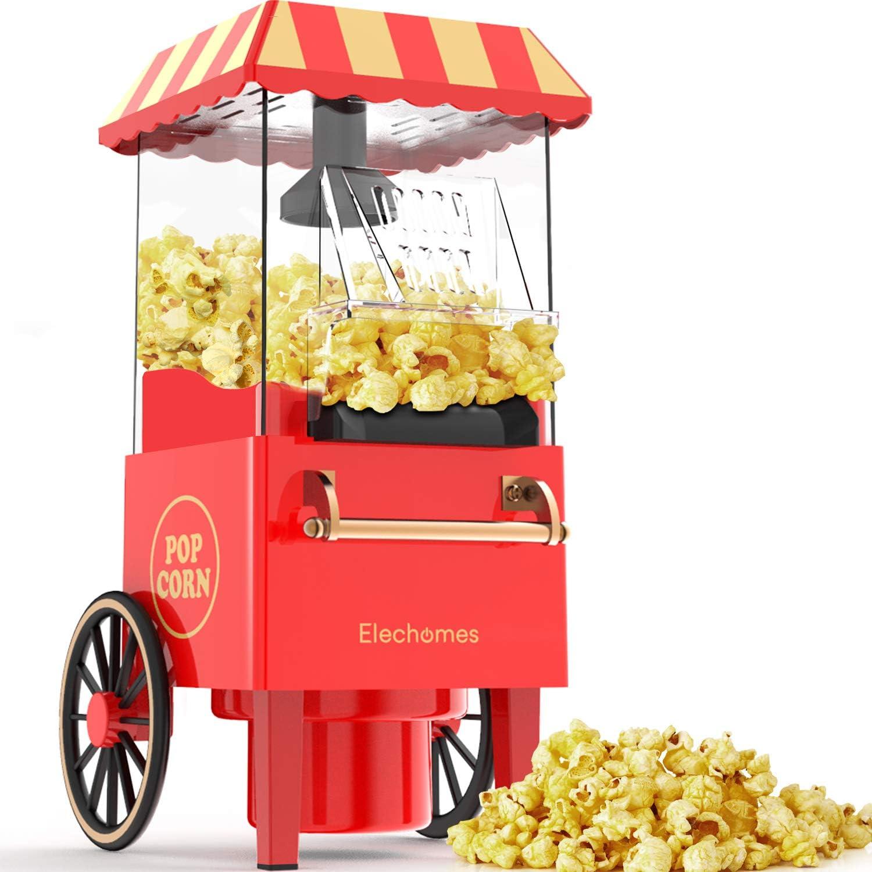 Máquina para hacer palomitas de maíz Elechomes estilo retro.1200Wmediante aire caliente, con control de temperatura y protección contra sobrecalentamiento, sin necesitad de aceite