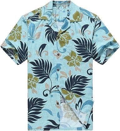 Hecho en Hawai de los Hombres Camisa Hawaiana Camisa de la Hawaiana S Hojas Tropicales en Azul del Aqua: Amazon.es: Ropa y accesorios