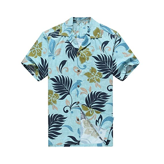 326caeae Made in Hawaii Men's Hawaiian Shirt Aloha Shirt Tropical Leaves in Aqua  Blue: Amazon.co.uk: Clothing