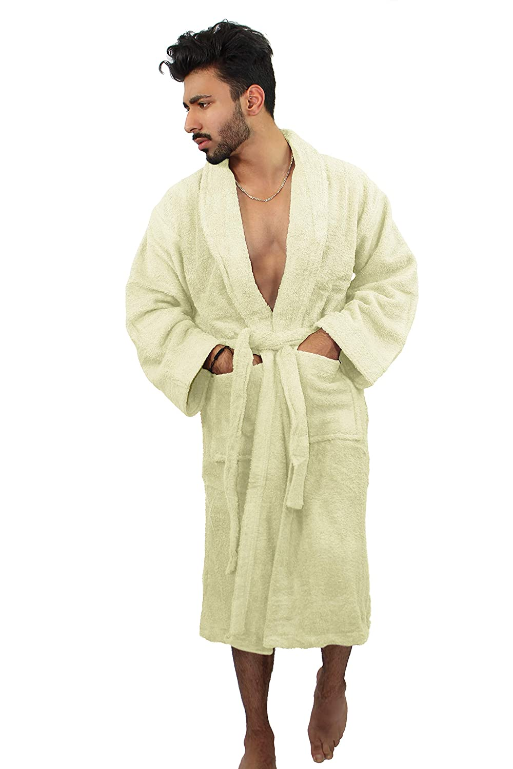 Soft,Robe Dressing Gown Holiday Spa Gym Belt 2 Pockets TOYIS Mens Towelling Bath Robe with Hood