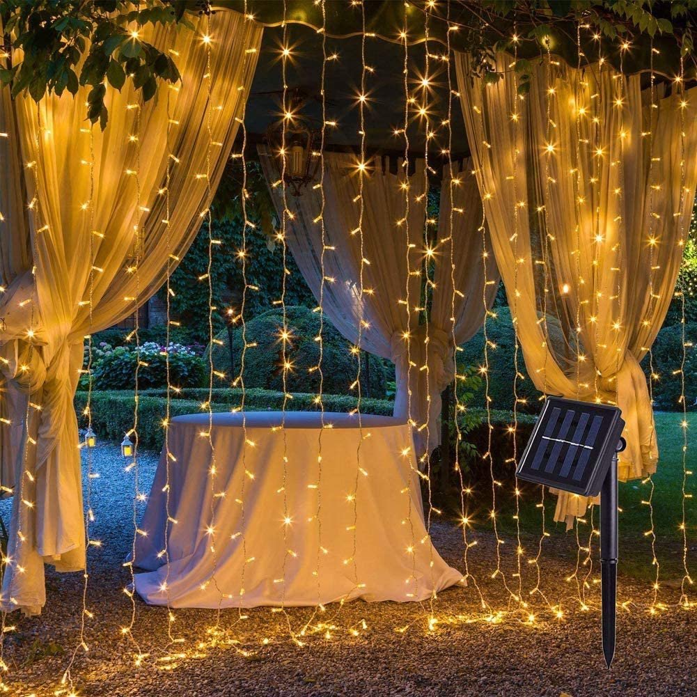 Solar Outdoor Curtain Lights 13×3.3ft 200 LED 8 Modes Solar Powered Fence Backdrop LED String Lights for Garden, Patio, Home, Wedding, Party Outdoor Wall Decoration (Warm White)