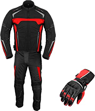 Motorbike Suit with Gloves Armoured 2 Piece Suit Motorcycle Motorbike Waterproof Suit Jacket with Trouser Gloves CE Armour All Weather for Mens