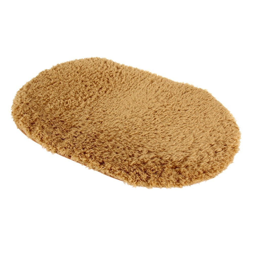 Polymer Absorption Bath Mat Soft Floor Rug Bedroom Cozy Shaggy Rug Oval Living Room Carpet (Khaki)