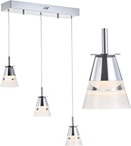 """JONATHAN Y JYL7037A Alain 19.5"""" 3-Light Adjustable Cascading Metal Integrated LED Pendant Contemporary,Glam,Scandinavian Dimmable, for Dining, Living Room, Kitchen, Commercial Office, Chrome/Clear"""