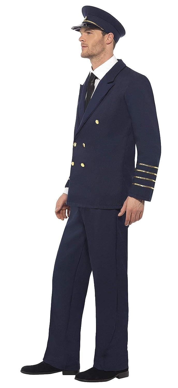 Bleu Marine Smiffys 28621M D/éguisement Homme Pilote Taille M