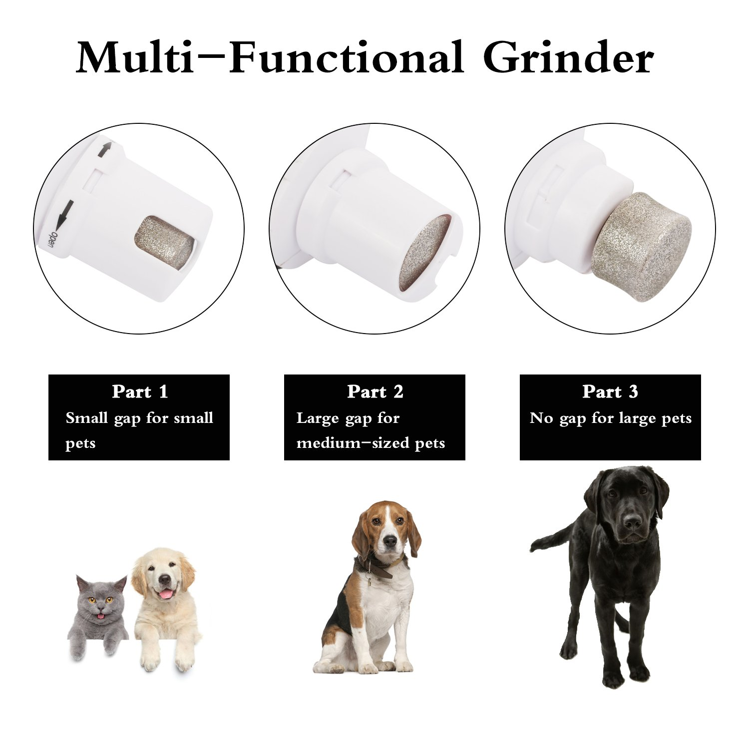 Pecute Dog Nail Grinder Safety 2 Speed 6800 RPM Powerful Motor, 240 Minutes Battery Life, Less Than 50dB Ultra Quiet