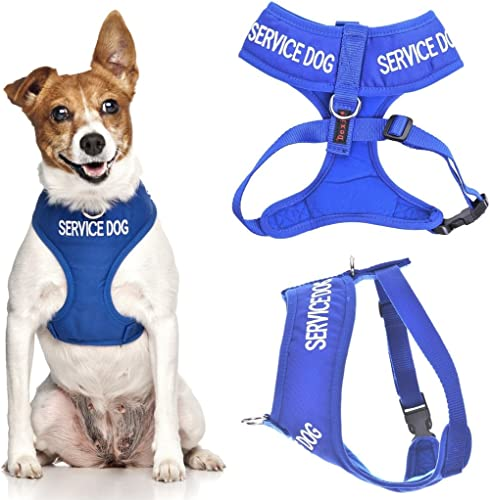 SERVICE DOG (Do Not Disturb/Dog Is Working) Blue Color Coded Non-Pull Front and Back D Ring Padded and Waterproof Vest Dog Harness