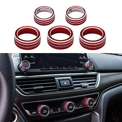 Thor-Ind Aluminum Car Centre Console AC Air Conditioning Knob Sound Volume Knob Cover Trim for 10th Honda Accord Sedan Sport EX EX-L LX 2020 2020 (5pcs-Red): Automotive [5Bkhe0116668]