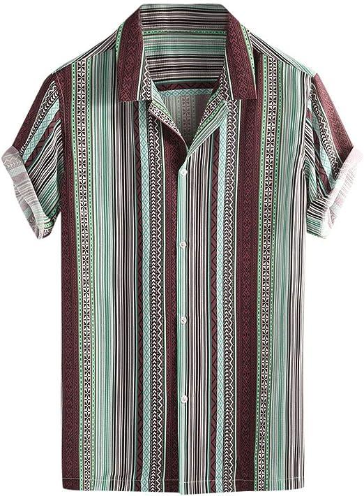 NnuoeN☀ Camisa de Manga Corta para Hombre, con Tira de Colores ...