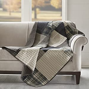 Woolrich Winter hills Luxury Quilted Throw Tan Gray 50x70 Plaid Premium Soft Cozy 100% Cotton For Bed, Couch or Sofa
