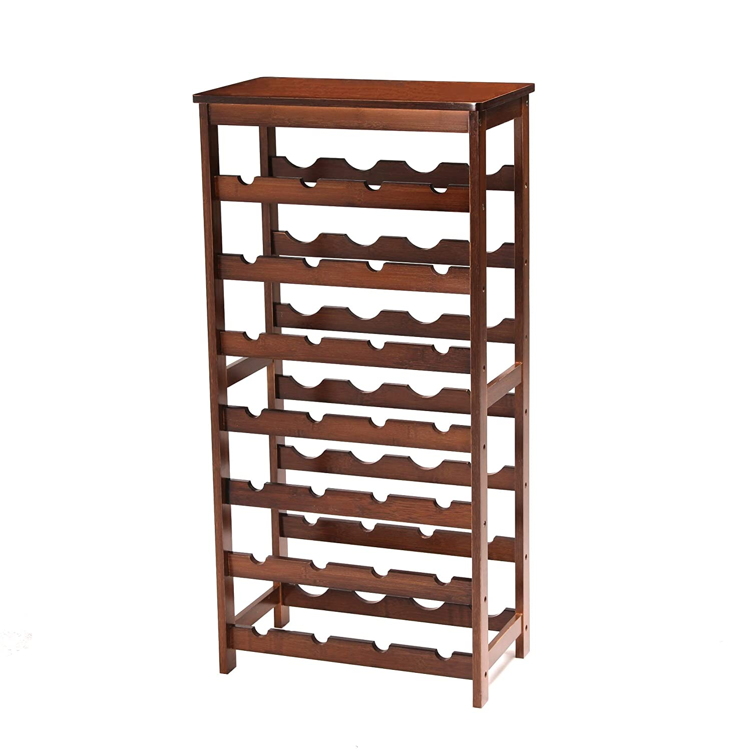UNICOO Bamboo Wine Rack, 7 Tier Free Standing Wine Storage Rack Wine Display Shelves 28 Bottles Capacity Storage Standing Table, Wobble Free for Home Kitchen, Antique Brown