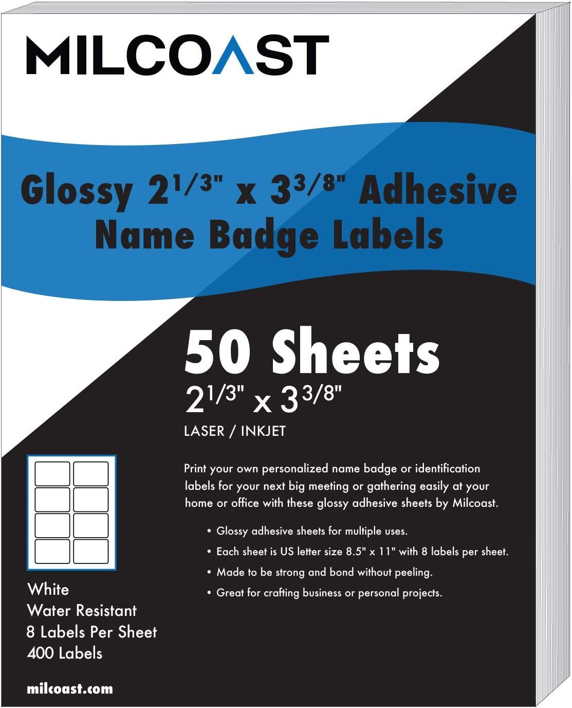 "Milcoast Glossy Adhesive Name Badge Label Stickers 2-1/3"" x 3-3/8"" - for Laser/Inkjet Printers - 400 Labels (50 Sheets)"